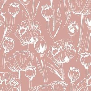 Puce poppies monoprint