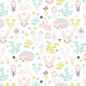 Adorable spring blossom flower garden easter bunny and hedgehog illustration print for little girls SMALL