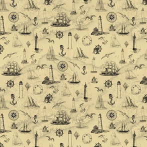 Vintage Nautical Pattern With Old Map Black and Tan