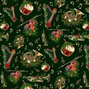 Christmas Music Dark Green