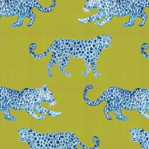 Leopard ParadeBlue on citron