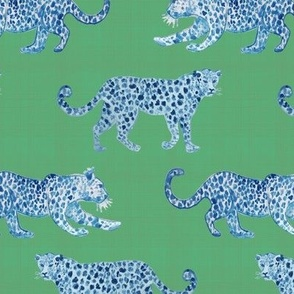 Leopard Parade Blue on celadon
