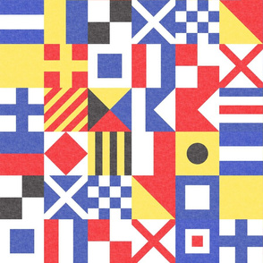 """(3"""" small scale) Maritime Flags Patchwork - Nautical Themed - LAD19"""