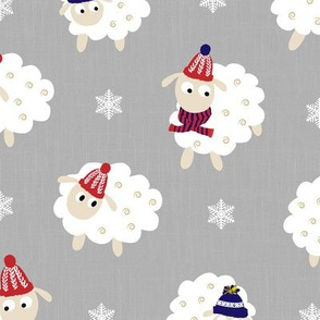 cute sheep with winter accessories - chambray grey
