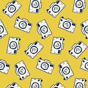 Inked Camera Doodle on Bright Yellow
