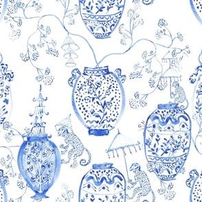 Handpainted Watercolour Chinoiserie Vases