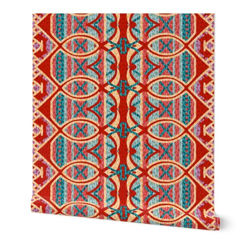 Removable Water-Activated Wallpaper Retro Boho Bohemian Hippie Blue Orange