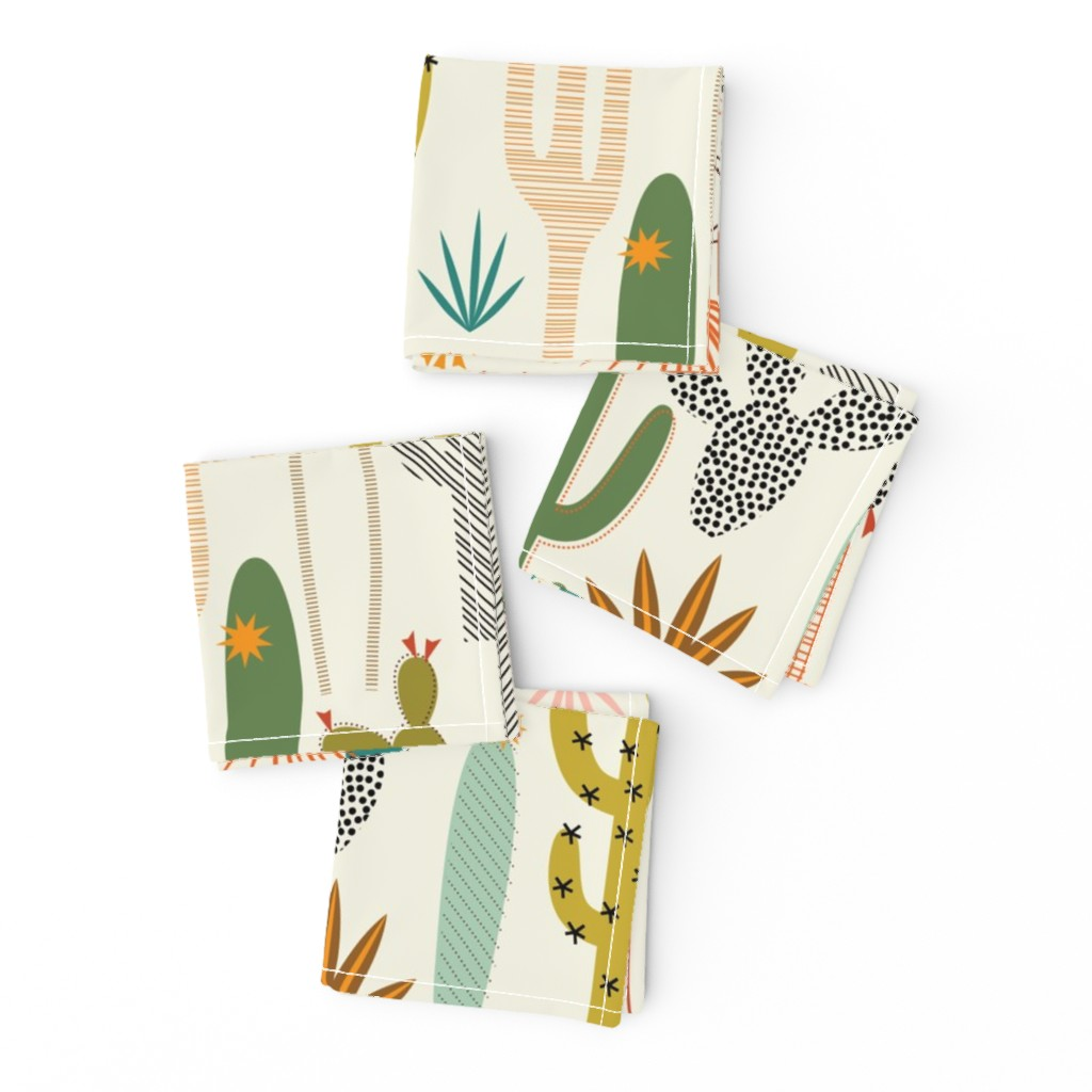 Frizzle Cocktail Napkins featuring Mod Desert Garden by katerhees