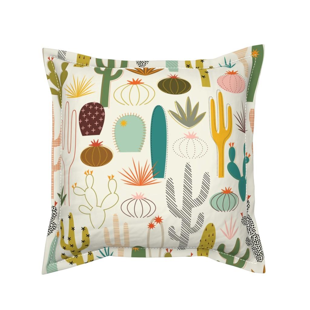 Serama Throw Pillow featuring Mod Desert Garden by katerhees