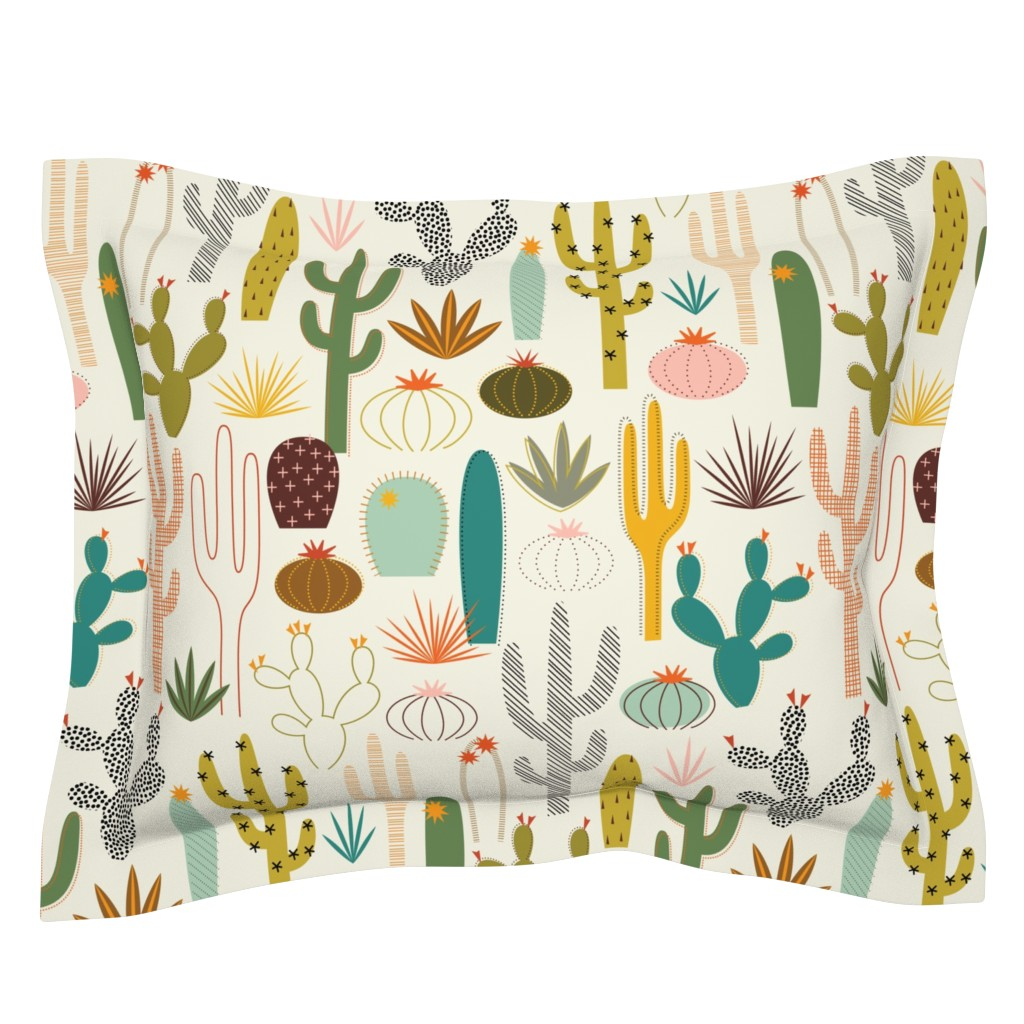 Sebright Pillow Sham featuring Mod Desert Garden by katerhees