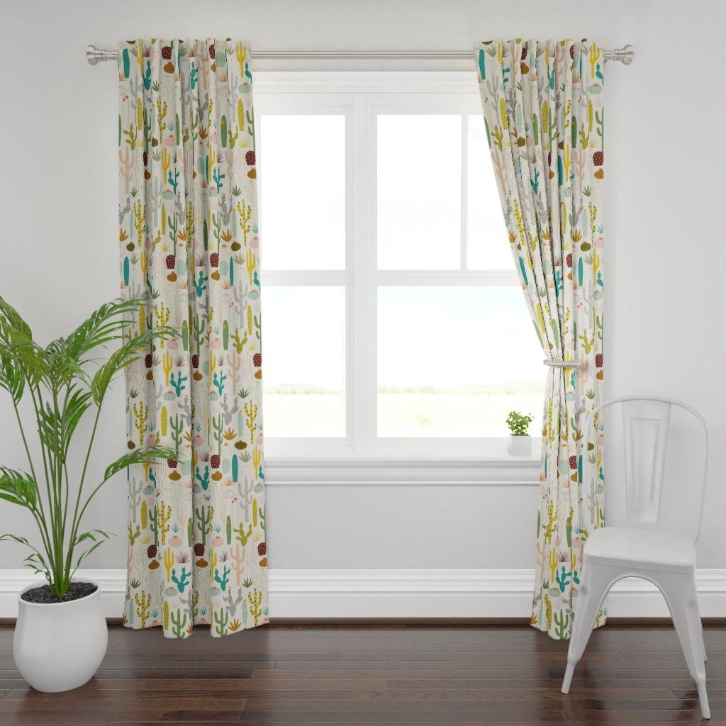 Plymouth Curtain Panel featuring Mod Desert Garden by katerhees