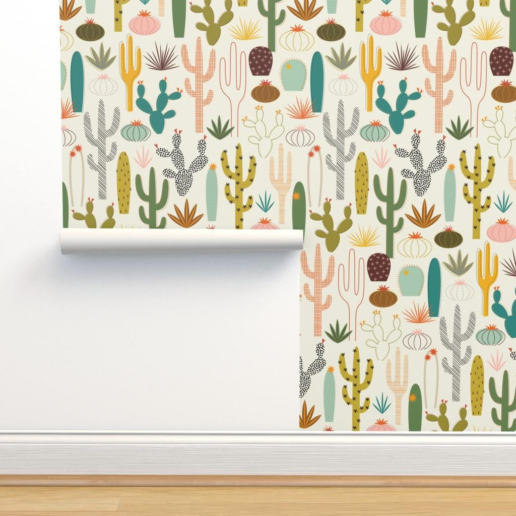 Isobar Durable Wallpaper featuring Mod Desert Garden by katerhees