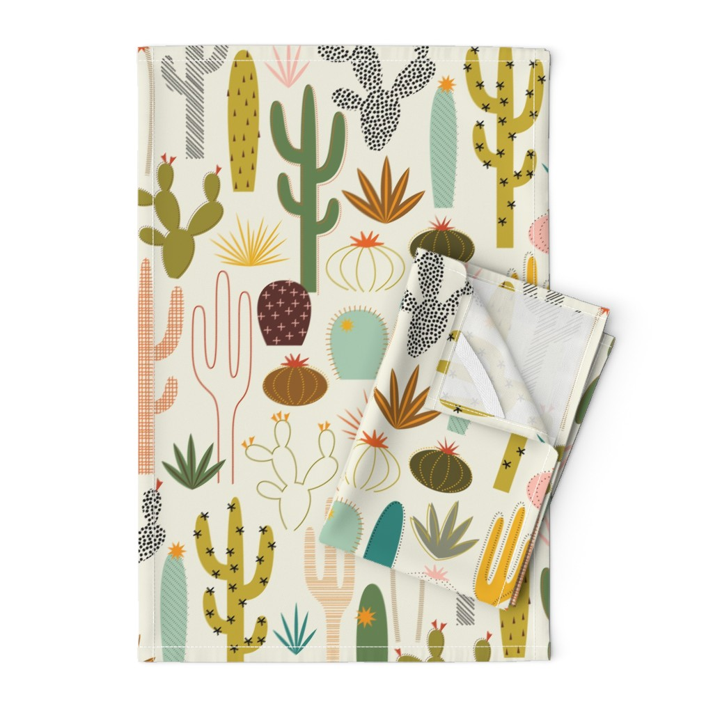 Orpington Tea Towels featuring Mod Desert Garden by katerhees