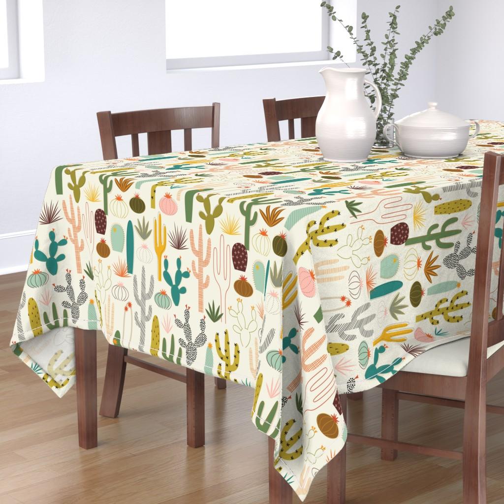 Bantam Rectangular Tablecloth featuring Mod Desert Garden by katerhees