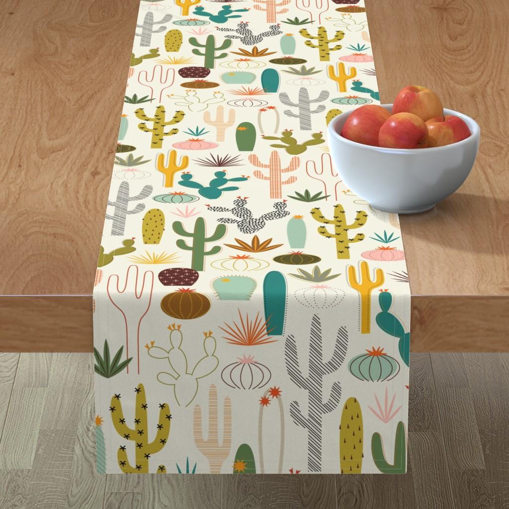 Minorca Table Runner featuring Mod Desert Garden by katerhees