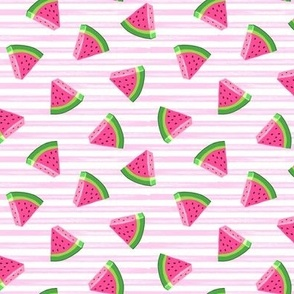 (small scale) watermelons (pink stripes)- summer fruit fabric - LAD19