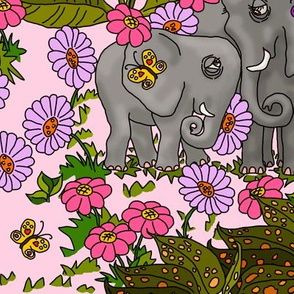 Elephants Jungle Print on Palest Pink