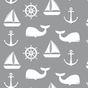nautical on grey - whale, sailboat, anchor, wheel LAD19
