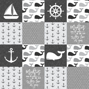Nautical Patchwork - Mightier than the waves in the sea - Sailboat, Anchor, Wheel, Whale - Monochrome  LAD19