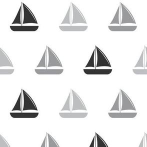 sailboats - nautical - greys  LAD19