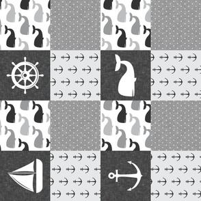 Nautical Patchwork - Sailboat, Anchor, Wheel, Whale - Monochrome (90)  LAD19