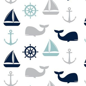 nautical in grey, dusty blue, and navy - whale, sailboat, anchor, wheel LAD19