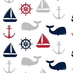 nautical in navy and red - whale, sailboat, anchor,  wheel LAD19