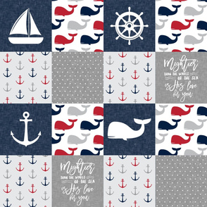 Nautical Patchwork - Mightier than the waves in the sea - Sailboat, Anchor, Wheel, Whale - Red and Navy LAD19