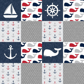 Nautical Patchwork - Sailboat, Anchor, Wheel, Whale - Red and Navy  LAD19