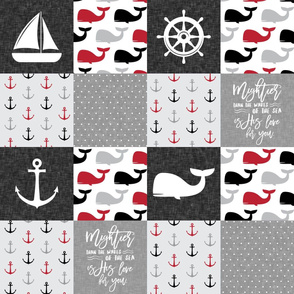 Nautical Patchwork - Mightier than the waves in the sea - Sailboat, Anchor, Wheel, Whale - Red and Grey  LAD19