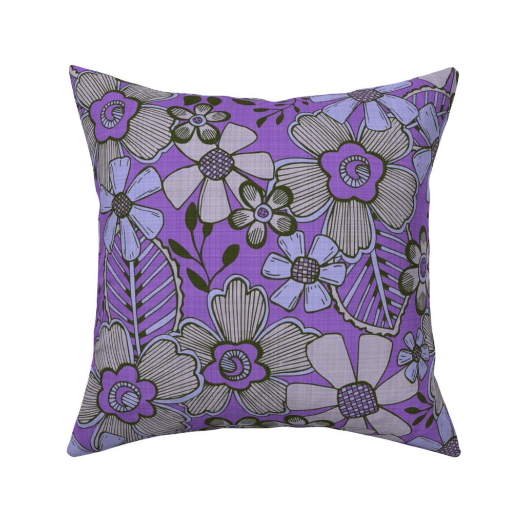 Catalan Throw Pillow featuring Fanciful Flowers, linen, purple by palifino