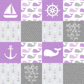 Nautical Patchwork - Mightier than the waves in the sea - Sailboat, Anchor, Wheel, Whale - Purple and Grey LAD19