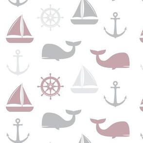 nautical in mauve & grey - whale, sailboat, anchor,  wheel LAD19