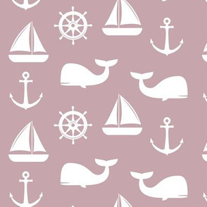 nautical on mauve - whale, sailboat, anchor,  wheel LAD19