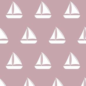 sailboats - nautical - mauve LAD19