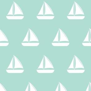 sail boats - nautical - aqua LAD19