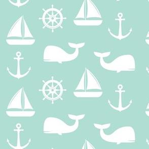 nautical on aqua - whale, sailboat, anchor,  wheel LAD19