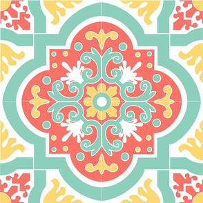 Large Coral Gold and Teal Tile