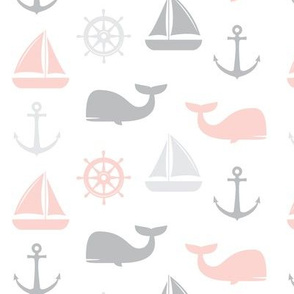 nautical in pink & grey - whale, sailboat, anchor,  wheel LAD19