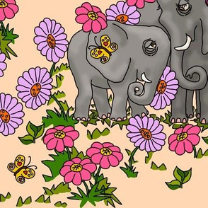Elephants and Flowers on peach