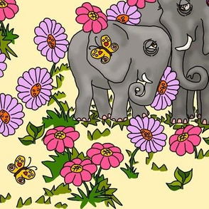 Elephants and Flowers on Pastel Yellow