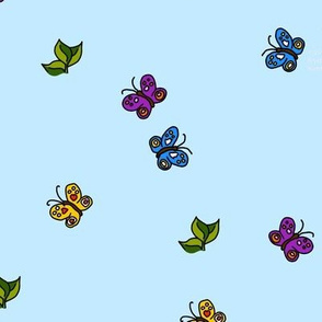 Butterflies and Leaves on Sky Blue