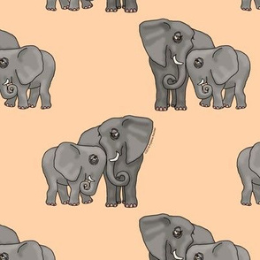 Just Elephants on Peach