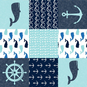 Nautical Patchwork - Whale - Blue and Navy (90) LAD19