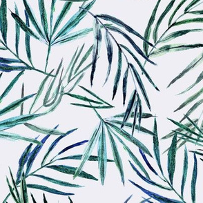 Palm leaves on blue || watercolor