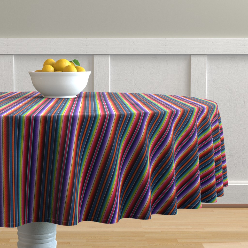 Malay Round Tablecloth featuring Serape Mexican blanket by sewingpatternbee