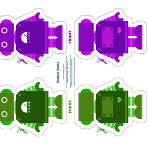 Robot Dolls - Green and Purple