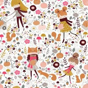 Pumpkin picking fall girls