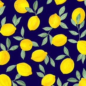 Lemons pattern fabric blue