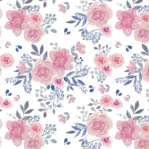 Watercolor Floral on white background